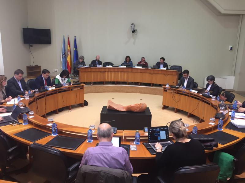 O secretario xeral da Emigración, durante a súa comparencia desta mañá no Parlamento de Galicia