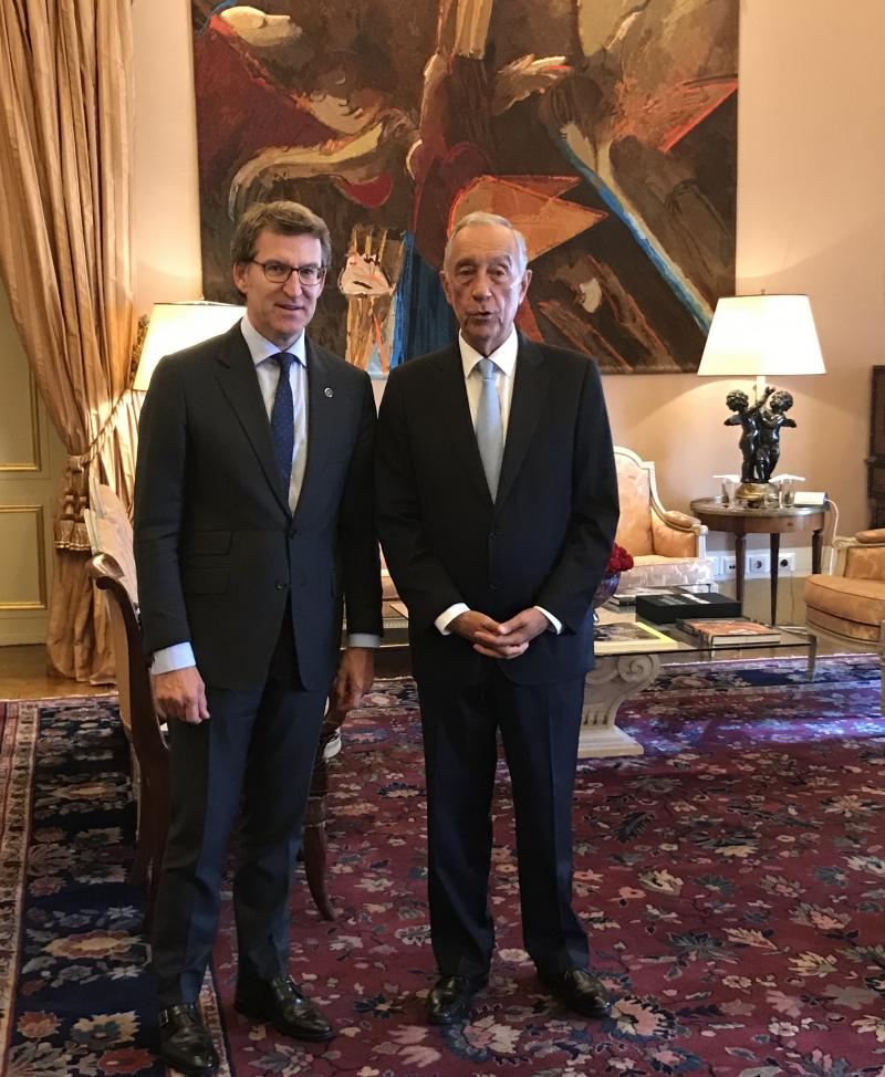 O presidente da Xunta reuniuse este mediodía co presidente da República Portuguesa, Marcelo Rebelo de Sousa