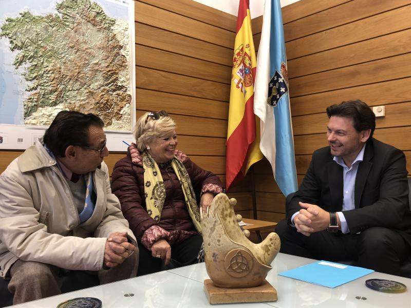 Miranda, Sauné e Lago, durante a reunión celebrada no despacho do secretario xeral da Emigración en Santiago de Compostela