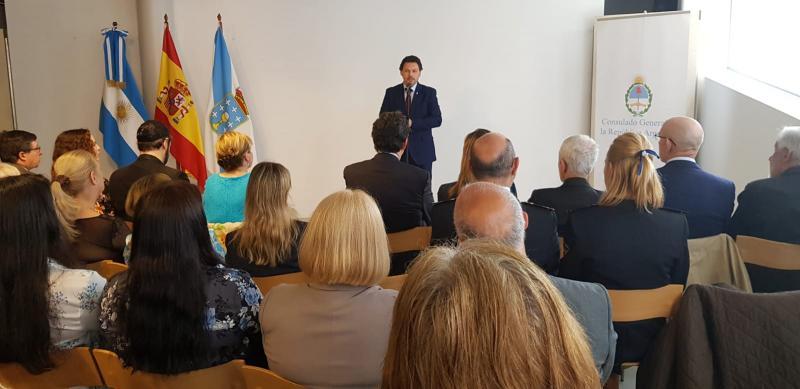 O secretario xeral da Emigración, durante a súa intervención no acto celebrado esta mañá en Vigo