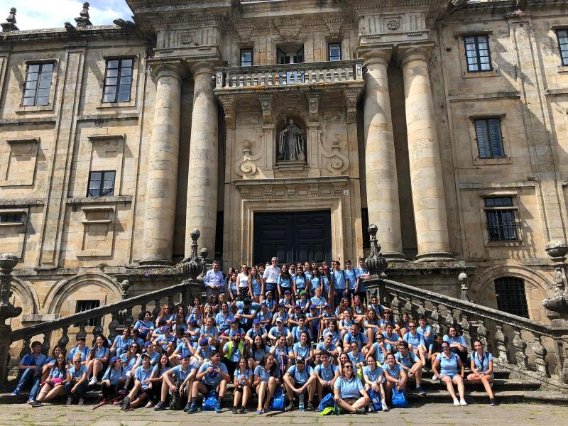 Imaxe desta tarde, en San Martiño Pinario, das mozas e mozos da segunda quenda do Conecta con Galicia 2019 da Xunta de Galicia