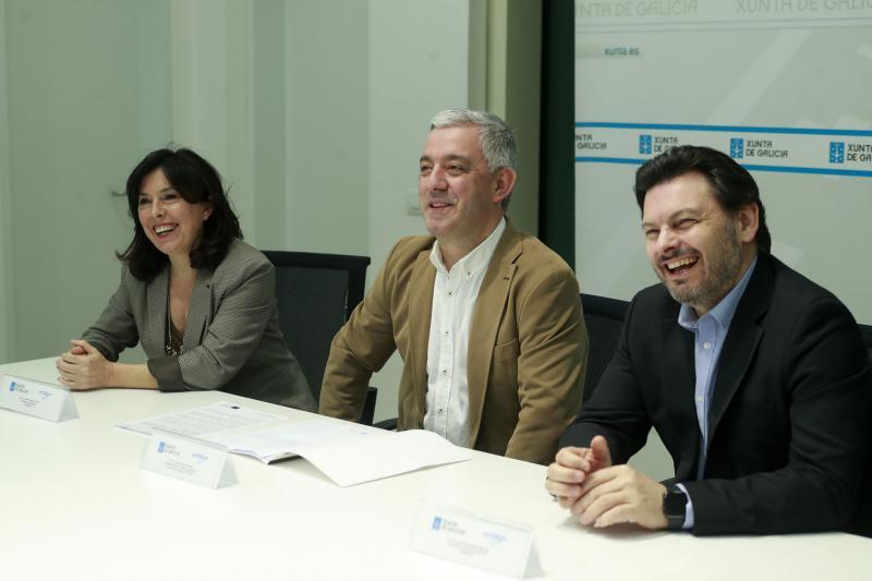 Imaxe da rolda de prensa desta mañá en Santiago de Compostela