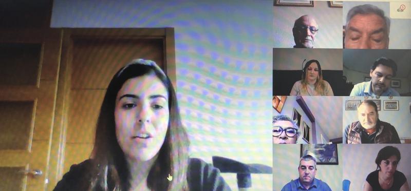 Imaxe da videoconferencia do secretario xeral da Emigración cos e coas representantes das entidades galegas en Madrid