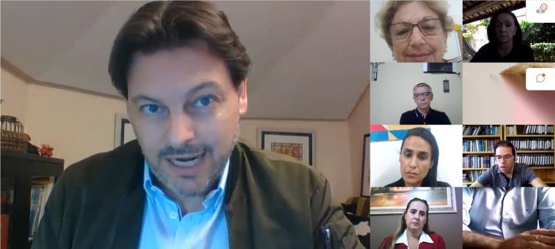 Imaxe da videoconferencia do secretario xeral da Emigración cos e coas representantes das entidades galegas no Brasil