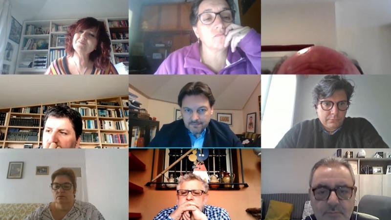 Imaxe da videoconferencia do secretario xeral da Emigración cos e coas representantes das entidades galegas en Cataluña