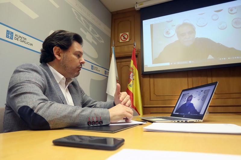 Imagen de la videoconferencia del secretario xeral da Emigración con el presidente de la Federación Venezolana de Galicia (Fevega)