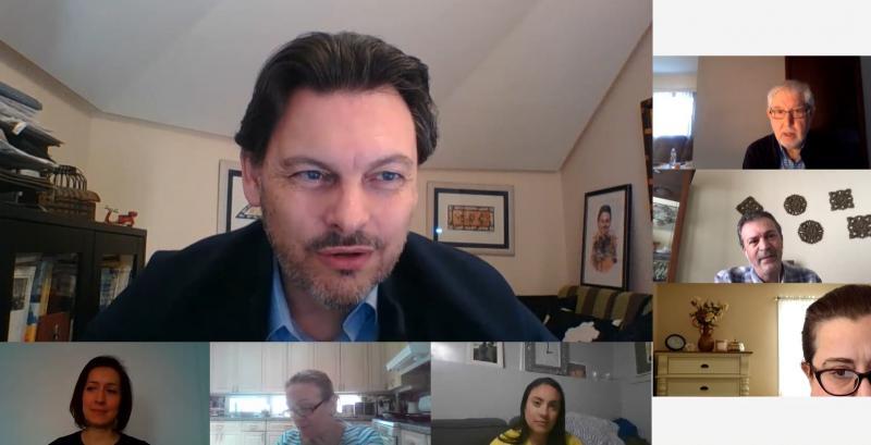 Imaxe da videoconferencia do secretario xeral da Emigración cos e coas representantes das entidades galegas en América do Norte