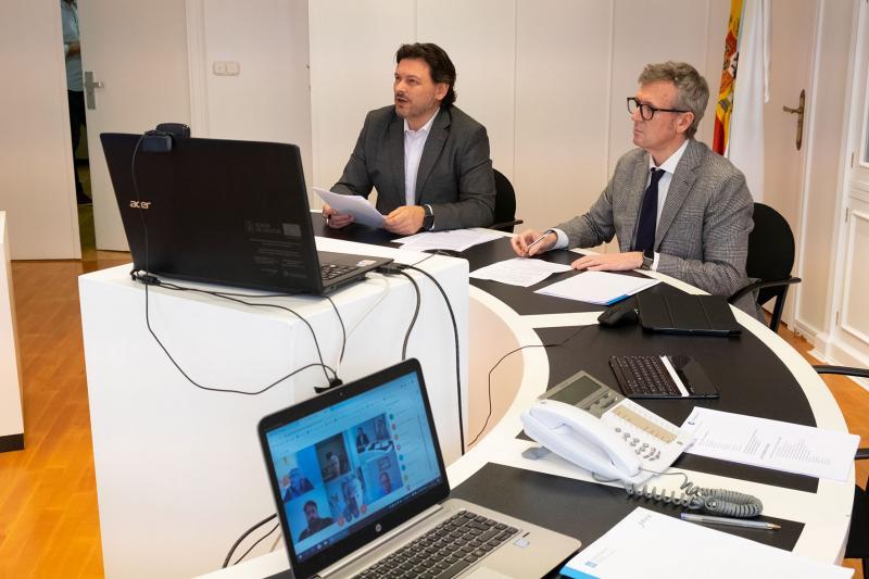 O vicepresidente da Xunta e o secretario xeral da Emigración, durante a videoconferencia celebrada esta tarde