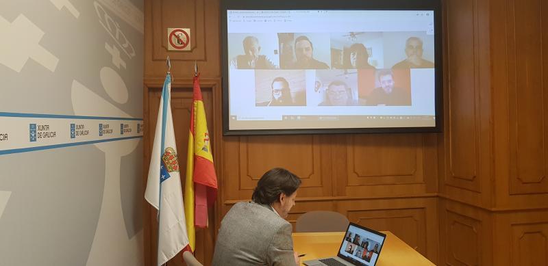 El secretario xeral da Emigración, en uno de los encuentros telemáticos con la colectividad gallega en la Argentina