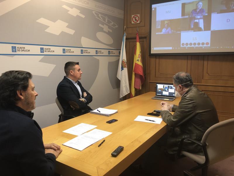 Imaxe da videoconferencia na sede de Emigración na capital de Galicia