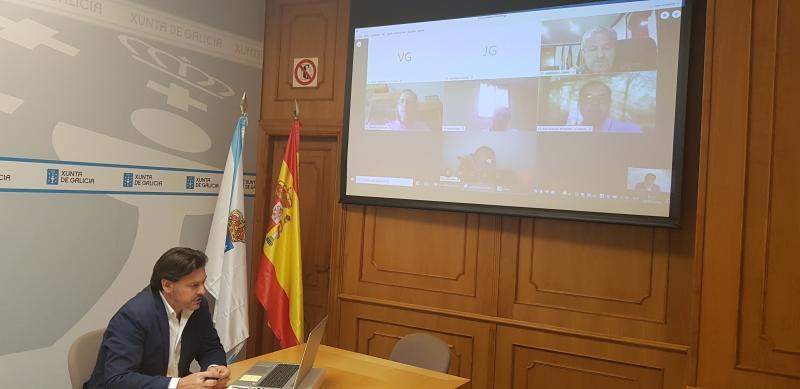 O secretario xeral da Emigración, durante a videoconferencia cos representantes das entidades galegas en Venezuela