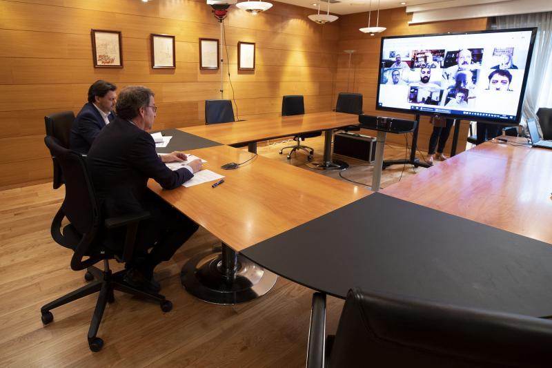 Imaxe da videoconferencia desta tarde na sede do Goberno galego en San Caetano (Santiago de Compostela)