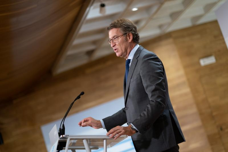 El presidente de la Xunta, durante la rueda de prensa del Consello
