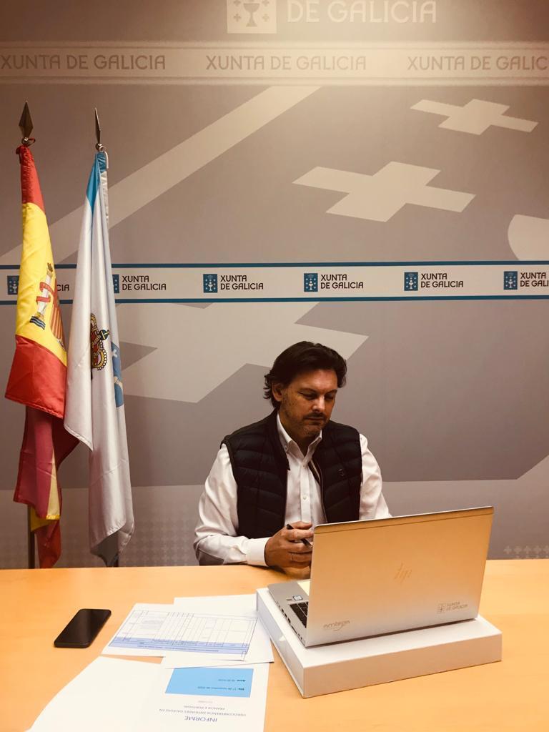 Antonio Rodríguez Miranda, durante la videoconferencia, en la sed de la SXE en Santiago de Compostela