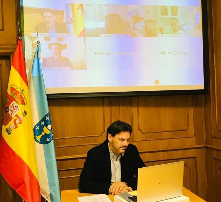 O secretario xeral da Emigración, durante a videoconferencia cos e coas representantes das entidades galegas nos Estados Unidos e México