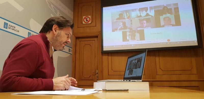 O secretario xeral da Emigración, durante a videoconferencia cos e coas representantes das entidades galegas en Madrid