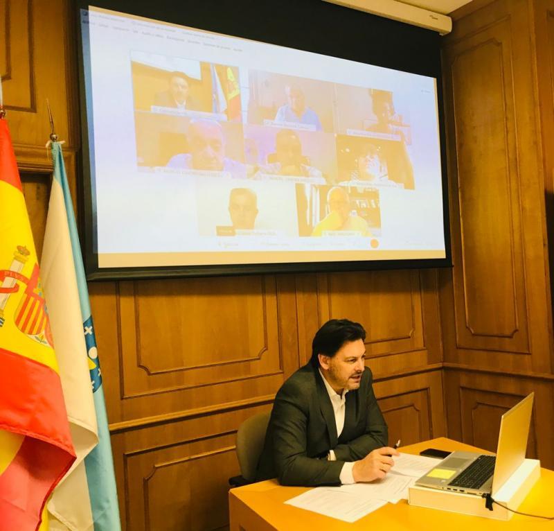 O secretario xeral da Emigración, durante a videoconferencia cos e coas representantes das entidades galegas na Arxentina