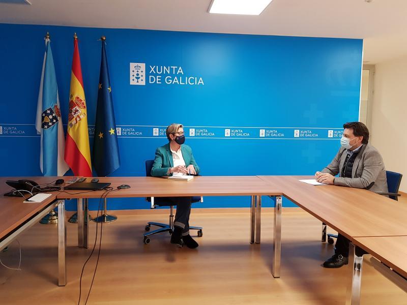 Rosa Quintana e Antonio Rodríguez Miranda, durante a reunión celebrada esta mañá