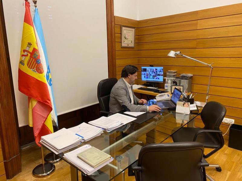 O secretario xeral da Emigración, Antonio Rodríguez Miranda, durante a reunión celebrada de xeito telemático
