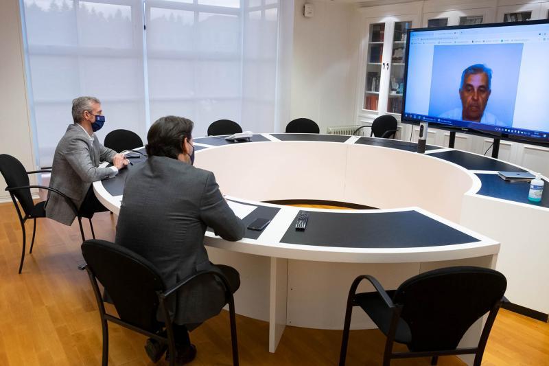 Imagen, en la sede de la Xunta en la capital de Galicia, de la reunión