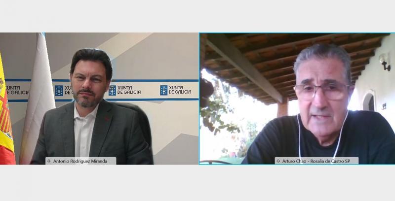 Antonio Rodríguez Miranda e Arturo Chao Maceiras, durante a videoconferencia