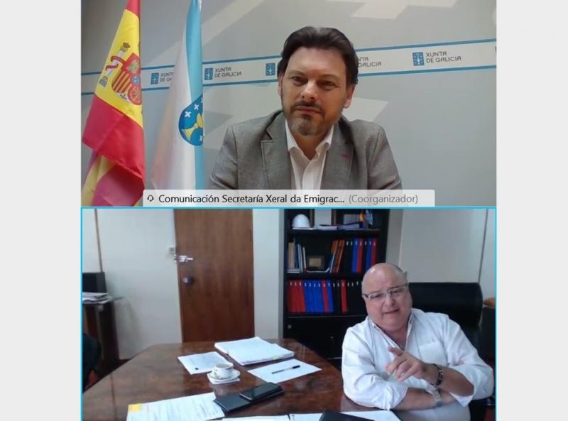 Imaxe da videoconferencia do secretario xeral da Emigración co presidente da Casa de Galicia de Montevideo
