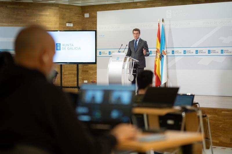 O presidente da Xunta de Galicia, Alberto Núñez Feijóo, durante a rolda de prensa posterior ao Consello desta semana