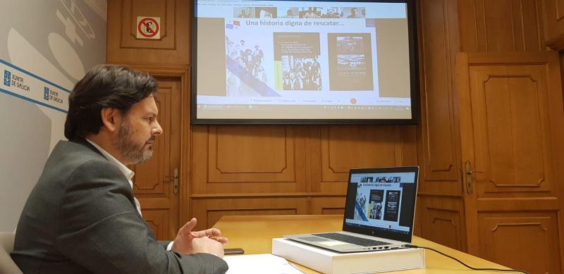 Antonio Rodríguez Miranda, durante a videoconferencia cos representantes da Fundación Nosa Terra de Panamá