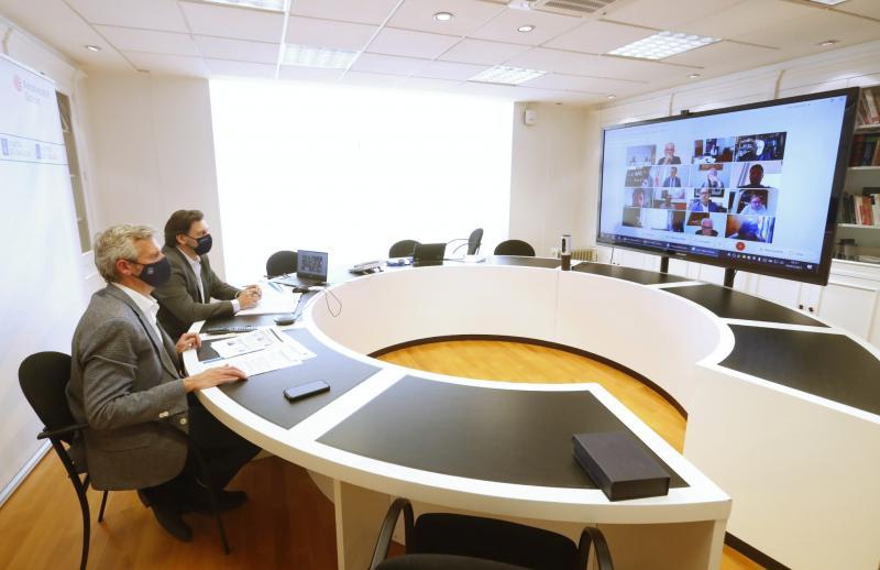 Imaxe, na capital de Galicia, da reunión da Comisión Delegada do CCG celebrada esta tarde de xeito telemático