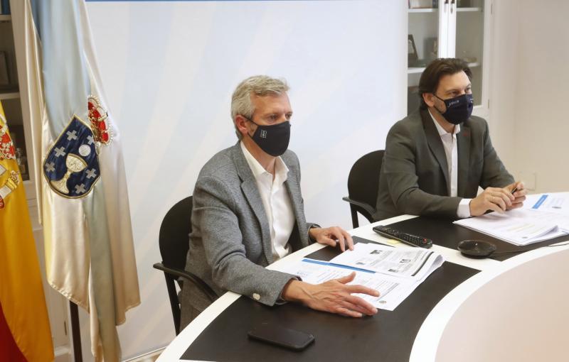 Imagen, en la capital de Galicia, de la reunión de la Comisión Delegada del CCG celebrada esta tarde de forma telemática