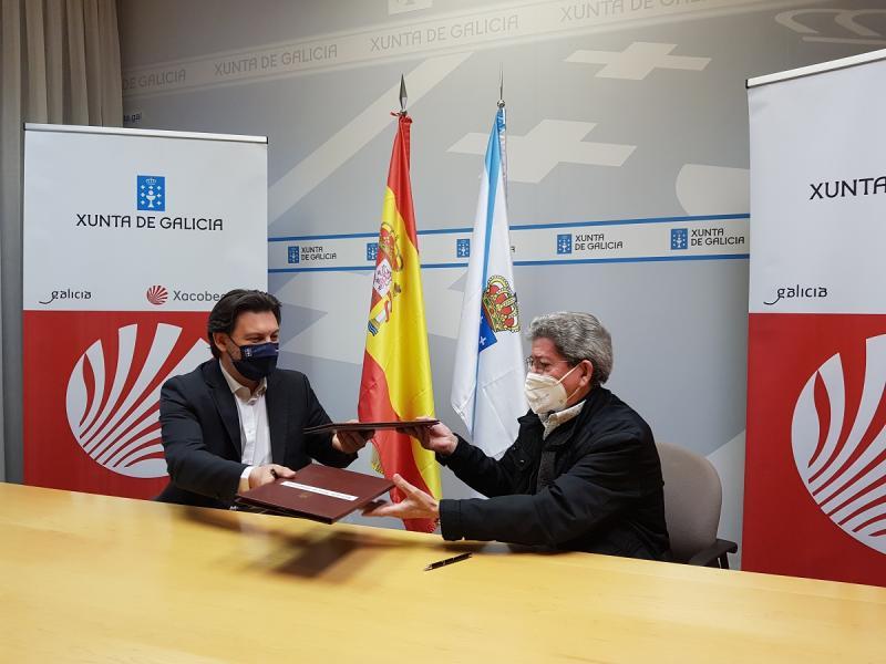 Antonio Rodríguez Miranda y Celso Domínguez Búa, durante la firma de esta mañana