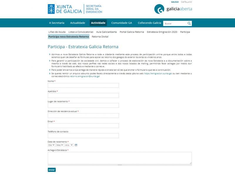 Formulario de participación na nova Estratexia Galicia Retorna