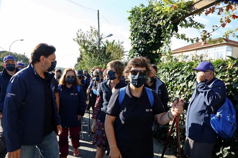 Imagen de esta mañana con el grupo del Conecta co Xacobeo que está recorriendo la Vía de la Plata