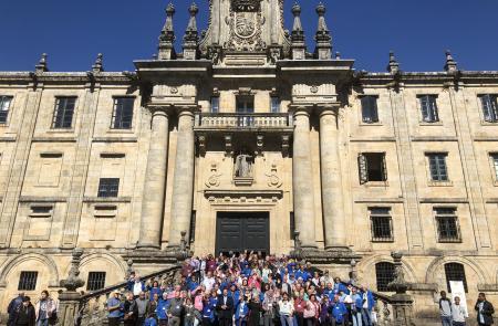 """Miranda recibe en el complejo histórico de San Martín Pinario los 135 emigrantes gallegos y gallegas residentes en América beneficiarios de los """"Reencontros na Terra"""" 2018"""