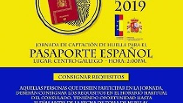 Xornada - Novembro 2019, de captación da pegada dixital para o pasaporte español, en Maracaibo